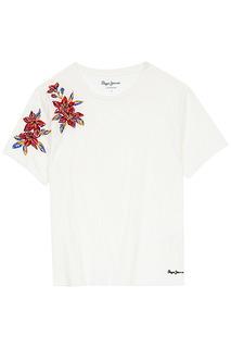 Белая футболка с вышивкой Pepe Jeans London