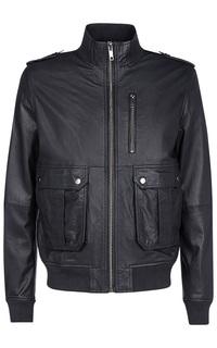 Черная кожаная куртка с отделкой трикотажем Urban Fashion for men