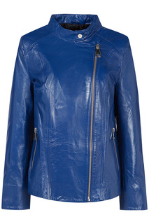 Синяя куртка из натуральной кожи La Reine Blanche