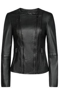 Черная куртка из натуральной кожи La Reine Blanche