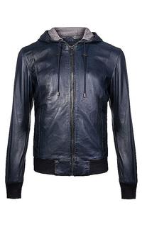 Куртка из натуральной кожи с отделкой трикотажем Urban Fashion for men