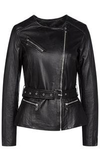 Куртка из натуральной кожи с ремнем La Reine Blanche
