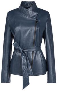 Кожаная куртка с косой молнией и воротником-стойкой La Reine Blanche