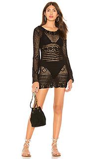 Кружевное платье с длинными рукавами lucy - MAJORELLE