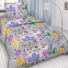 Детское постельное белье 1,5 сп Letto, Робогород, серый