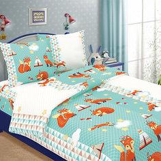 Детское постельное белье 1,5 сп Letto, Лисички, голубой