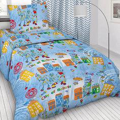 Детское постельное белье 1,5 сп Letto, Робогород, голубой