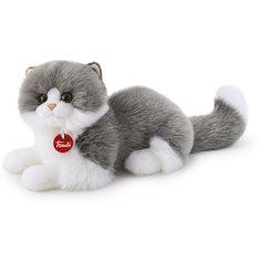 Мягкая игрушка Trudi Серо-белая кошка Клотильда, 35 см лежачая