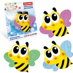 """Мини-коврики для ванной на присосках Valiant """"Пчёлка"""" 6 шт."""