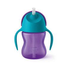 Чашка-поильник с трубочкой Philips Avent, 200 мл, голубой/сиреневый