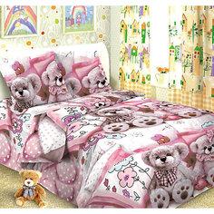 Детское постельное белье 1,5 сп. Letto, Тэдди, розовый