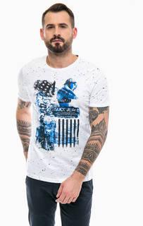Белая хлопковая футболка с короткими рукавами Gaudi