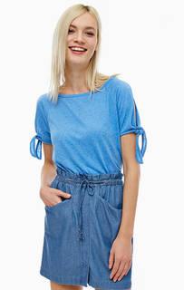 Трикотажная футболка с завязками на рукавах Tom Tailor Denim
