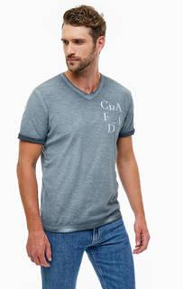 Серая хлопковая футболка с принтом Tom Tailor