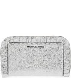 Серебристый кожаный кошелек с отделением для телефона Michael Michael Kors