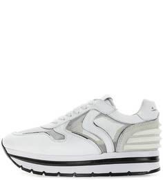 Белые кожаные кроссовки на платформе и танкетке Voile Blanche