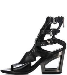 Черные кожаные босоножки на каблуке A.S.98