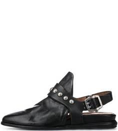 Черные кожаные сандалии с металлическим декором A.S.98