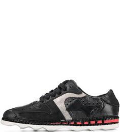 Черные кожаные кроссовки с перфорацией A.S.98