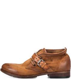 Замшевые ботинки коричневого цвета с каблуком A.S.98