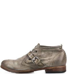 Замшевые ботинки цвета хаки с каблуком A.S.98