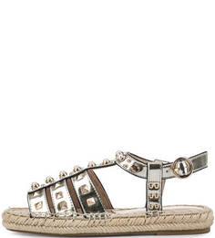 Золотистые кожаные сандалии с отделкой Liu Jo
