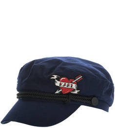 Синяя хлопковая кепка с нашивкой Karl Lagerfeld