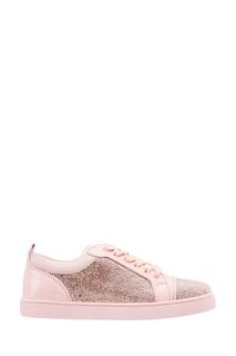 Розовые кеды с кристаллами Louis Junior Strass Christian Louboutin