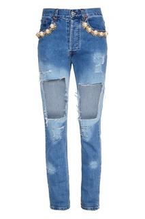 Голубые декорированные джинсы Forte Couture