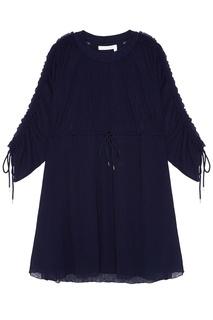 Синее платье с завязками на талии See By Chloé