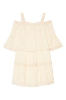 Белое хлопковое платье с кружевом Paul & Joe Sister