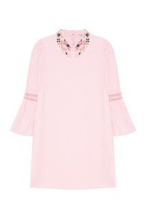 Розовое платье с вышитым воротником Vivetta