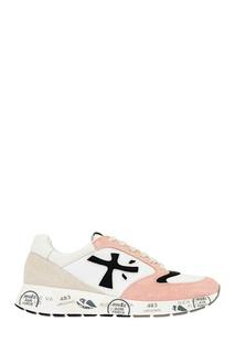 Розово-белые кроссовки с аппликацией Premiata