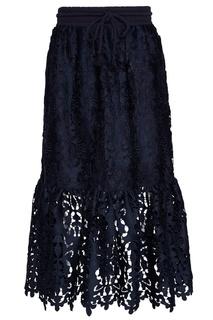 Синяя юбка из вышитого хлопка See By Chloé