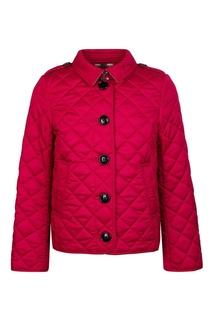 Розовая стеганая куртка Burberry Children