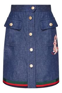 Джинсовая юбка с нашивкой Gucci
