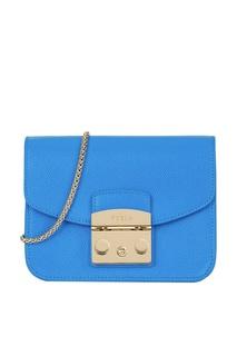 Синяя сумка из текстурированной кожи Metropolis Furla
