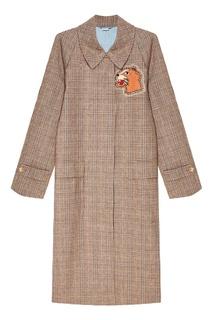 Бежевое пальто из шерсти в клетку Gucci