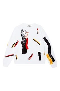 Белый свитшот с вышивкой пайетками Acne Studios