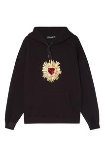 Черное худи с вышитым сердцем Dolce & Gabbana