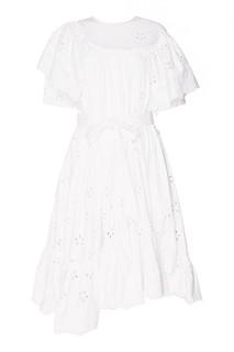 Белое платье из вышитого хлопка Simone Rocha