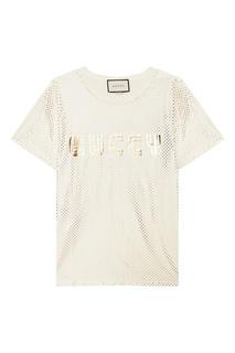Бежевая футболка с ламинированной отделкой Gucci