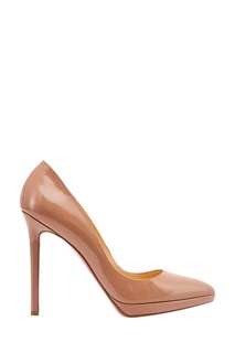 Бежевые лакированные туфли Pigalle Plato 120 Christian Louboutin