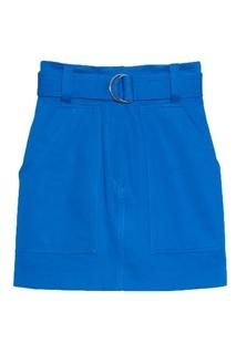 Короткая синяя юбка с поясом Sandro