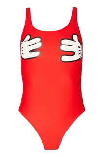 Слитный красный купальник с принтом Zoe Karssen