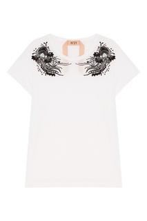 Белая футболка с контрастным декором No.21