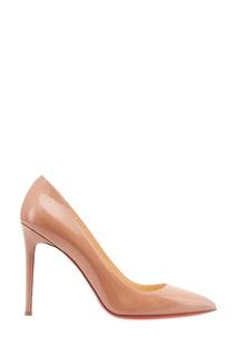 Бежевые лакированные туфли Pigalle 100 Christian Louboutin
