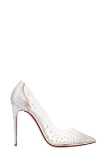 Туфли с серебристыми кристаллами Degrastrass 100 Christian Louboutin