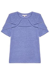 Голубая футболка с ажурной отделкой Maje