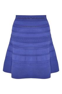 Синяя юбка с рельефной отделкой Sandro